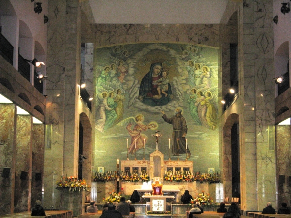 The altar of Padre Pio's church in San Giovanni Rotondo, Italy
